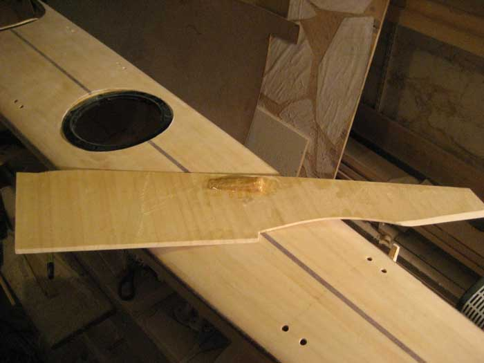 Wood strip surfski cockpit