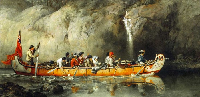 Fur-trade Maître Canot with passengers. Arthyr Hopkins
