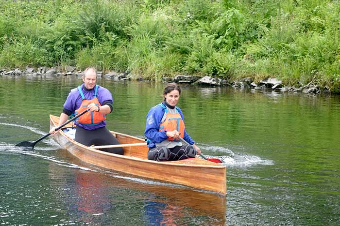 John Willacy and Pascale Eichenmüller paddling Chris Gash's new Swift/2