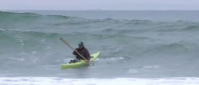 Jeff Allen testar Frej i brytande sjö